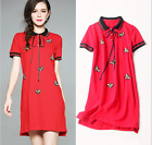 17 Occident new fashion embroidery lapel ribbon set auger bee leisure dress SML