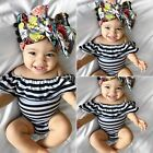 New Kids Newborn Toddler Baby Girls Cute Striped Slash Neck Bodysuit B20E