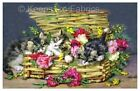 Basket Of Kittens & Flowers Crazy Quilt Block Multi Szs FrEE ShiPPinG WoRld WiDE