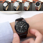 Casual Mens Watch Genuine Leather Band Date Analog Quartz Wristwatch Men Watches