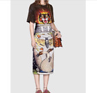 17 Occident hot sale black tiger embroidery T-shirt+fresh printed skirt hot suit