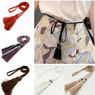 Women Cotton Thin Braided Tassel Waist Belt Strap Rope Woven Waistband Band Tie