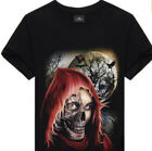 3D Skull Gothic T-Shirt Cotton Colorful  Large, X-Large