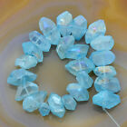 """10x16mm Natural Crystal Quartz Rock Gemstone Nugget Middle Drilled Beads 8"""""""