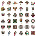 1pcs Vintage Rhinestone Crystal Alloy Wedding DIY Bouquet Pin Brooch Jewelry