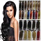 "Hot 18""-32"" Keratin Nail U-Tip Human Hair Extensions Straight Curly Wavy"