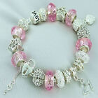 Pink Silver Sparkle Charm Bracelet MUM DAUGHTER 16th 18th 21st BIRTHDAY Gift Box