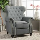 Waldo Contemporary Button Tufted Fabric Recliner with Nailhead Accents