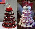3/4/5 Tier Clear Acrylic Round Cake Cupcake Stand Wedding Birthday Display