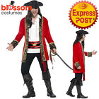 CA284 Mens Curves Deluxe Pirate Captain Costume Caribbean Buccaneer Plus Size