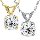 3/4ct Diamond Solitaire Pendant Available in 14k White or Yellow Gold