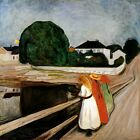THREE GIRLS ON THE JETTY STARING CALM WATER 1899 PAINTING BY EDVARD MUNCH REPRO