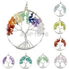 50mm Silver Tree of life pendant Rose Crystal Necklace Gemstone Chakra Jewelry