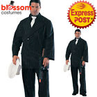 CA306 Deluxe Mens Gangster 20s 1920s Pinstripes Suit Fancy Dress Mobster Costume