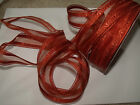 MULLED SPICED Autumn Orange Sheer / patterned Organza - Luxury Wire Edged Ribbon