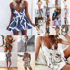 Women Lady Sexy V-neck Jumpsuit Summer Beach Dress Shorts Floral Printed Fashion