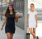 Ladies T-Shirt Dress- Extra Long T-shirt with Scoop Neck  - Shaped Fit