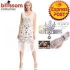 K368 White Ladies 1920s Roaring 20s Flapper Costume Sequin Gatsby Outfit Dress