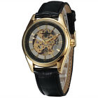Casual Fashion Mens Skeleton Mechanical Wrist Watch Vintage Leather Band Relojes