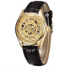 TOP Sided Skeleton Mechanical Watches Men Luxury Brand Men's Leather Band Case