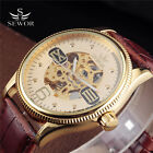 Luxury Sports New Leather Skeleton Mens 46mm Automatic Mechanical Wrist Watch
