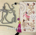 PU Leather Flip Bling Diamond Wallet Case Girl Phone Cover bag with long strap L