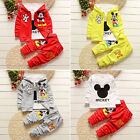 3pcs Kids Baby Boys Girls Outfits Set Mickey Mouse Coat+T shirt+Pants Clothi SY