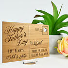 Personalised Favours Happy Father's Day Plaque Postcard Made of Wood with Stand