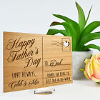 Personalised Engraved Fathers Day Wood Postcard Plaque Gift with Stand for Dad!