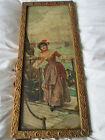 CHARMING FRAMED ANTIQUE PRINT SIGNED M BROWN LADY BOARDING SHIP HARBOUR BOATS
