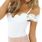 Women V-Neck Lace Up Bandage Bodysuit Leotard Lingerie Romper Tops Jumpsuit 75t