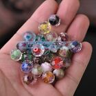 36pcs 12mm Faceted Lampwork Glass Charms Findings Flower Inside Loose Beads