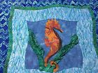 Tropical Beach SEAHORSE Pillow Cover Case~ Ocean Waves Quilted Sea Grass Sashing