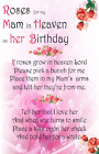 Mam mum  Birthday Roses Heaven Female Bereavement Graveside Memorial Card 19