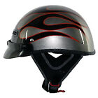 Vega XTS Motorcycle Half Helmet Carbon Black/Red Flame/Titanium Adult