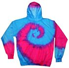 Tie Dye Blue Pink Hoodie Adult S to 3XL Long Sleeve with Pockets Colortone