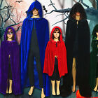 Hot Halloween Vampire Style Velvet Hooded Cloak Wicca Robe Witches Capes Party