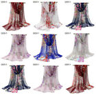 New Fashion Women's Long Soft 100% Silk Floral Scarf Wrap Shawl Stole Scarves