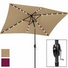 USB Charger/Portable Power Bank 10' x 6.5' LED Patio Solar Umbrella - Multicolor