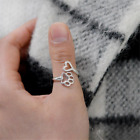 Fashion Women Hollow Paw Print Love Heart Ring Open Adjustable Ring Jewelry