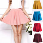 High Waist Women Vintage Stretch Plain Skater Flared Pleated Skirt Dress  O6502