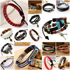 Fashion Unisex Multilayer Leather Bracelet Handmade Men Women Wristband Bangle