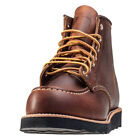 Red Wing 6-inch Moc Toe Mens Pink Leather Casual Boots Lace-up Genuine Shoes