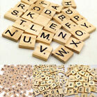 100 Wooden Alphabet Scrabble Tiles Black Letters & Numbers For Crafts Wood gifts