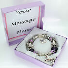 Girls Horse Pony Bracelet PERSONALISED BOX Purple Charm Beads Jewellery Gifts