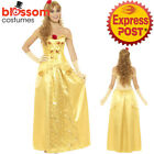 CA359 Golden Princess Belle Long Dress Up Costume Book Week Beauty and The Beast