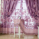 Floral Yarn Peony Sheers Curtains Voile Tulle Door Window Curtain Scarf Valance