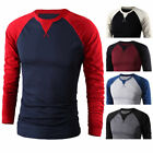 Men's Long Sleeve Baseball T-Shirt Raglan Jersey Tops Shirt Casual Tee Crew Neck image