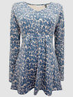 SEASALT organic cotton jersey blue foliage Hessian Tiptree Hall 3/4 sleeve top