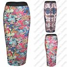 WOMENS BODYCON MULTICOLOUR PRINT STRETCH PENCIL SKIRTS LADIES SKIRT MIDI LENGTH
